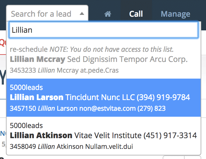 Search result with read only lead from a non-accessible list.